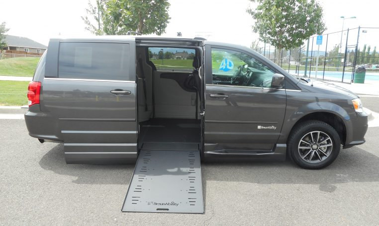 Deep-grey-dodge-mini-van-conversion-ramp